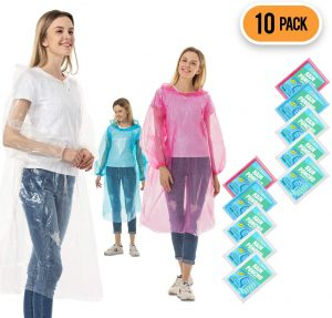 CeroPro Rain Ponchos for Adults Disposable 10 Pack Bulk Extra Thick Emergency Waterproof Rain Poncho