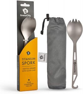 finessCity Titanium Spork Spoon Fork with Bottle Opener Extra Strong Ultra Lightweight Ti Healthy Eco Friendly Spoon Fork Bottle Opener